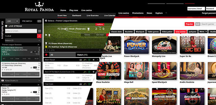 Royal Panda Sports Betting and Casino site.